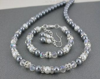 Bridesmaid Jewelry White Necklace Grey Necklace Wedding Necklace Pearl Necklace Jewelry Set Maid of Honor Gift for Maid of Honor Jewelry