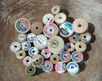30 Vintage Wood Thread Spools Wooden Sewing Craft Supply Lot (#1485)