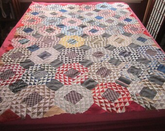 Antique Circa 1870 Beautiful OCEAN WAVES Handsewn Cotton Quilt Top