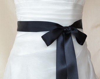 Black Double faced Satin Ribbon Wedding Dress Sash Belt