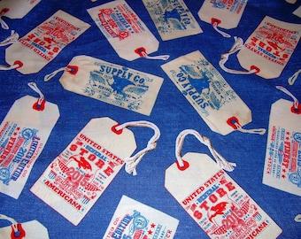 En édition limitée» Vintage vêtements à la main les étiquettes sur le denim tissu Windham par nancy Gere ~ vendu par yard demi ~ couette coton ~ #40706-1 ~ inv 11