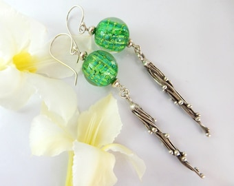 Green Bead Earrings - Focal Bead - Lampwork Glass Earrings- Handmade Jewelry - Women's earrings