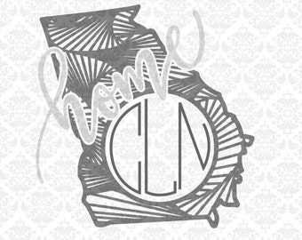 Georgia Zentangle Line Monogram Home Outline State Set SVG STUDIO Ai EPS Scalable Vector Instant Download Commercial Use Cricut Silhouette