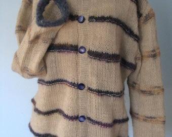 New cardigan jacket Size XL handknit mohair blend ivory