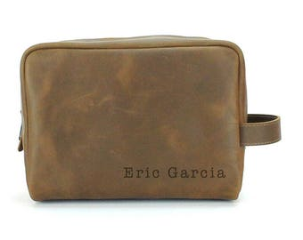 Travel Dopp Kit - Engraved Toiletry Bag - Crazy Horse