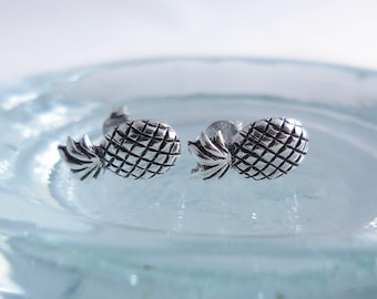 925 Sterling Silver Pineapple Stud Earrings, Pineapple Jewelry, Pineapple Earrings, Fruit Jewelry, Summer Jewelry,