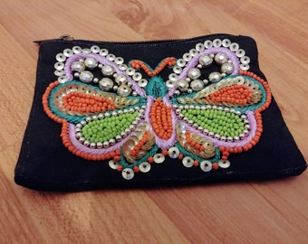 Vintage beaded coin purse butterfly coin purse butterfly coin pouch butterfly pouch butterfly gift small pouch makeup pouch travel pouch