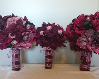 Burgundy Pink Winter Autumn Bouquet 7pc Set