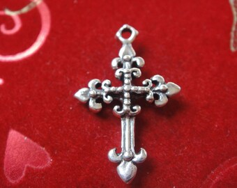 925 sterling silver oxidized fleur de lis cross, silver cross, cross, fleur de lis cross