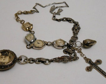 Repurposed Vintage Watches Religious Watch Chains Necklace - Silver Tones