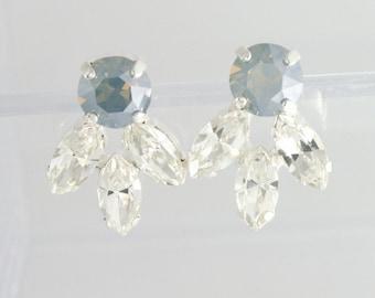 Dusty blue earrings,dusty blue wedding jewelry,dusty blue jewelry,blue wedding,something blue,Swarovski,swarovski dusty blue,bridal earrings