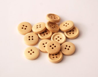 25 Small-Natural, Light Brown Wood Buttons, 15 mm, 4 Holes - Wooden Buttons, Set of 25 (RB1501)