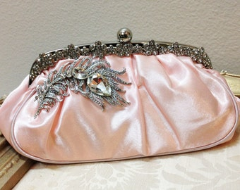 Bridal clutch, pink wedding clutch, Crystal clutch, vintage inspired evening bag, Pink clutch, bridal bag