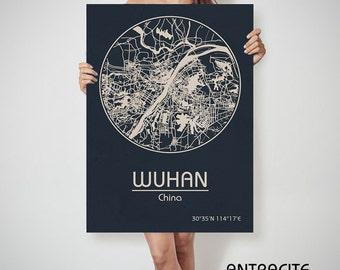 WUHAN China map Wuhan art, Wuhan print, Wuhan, Wuhan map, Wuhan China, Wuhan wall art, Wuhan city map, Wuhan poster, Wuhan canvas map