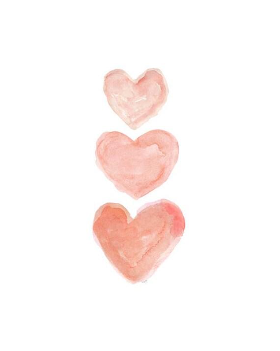 Petite Coral Heart Trio Nursery Artwork, 5x7, 8x10