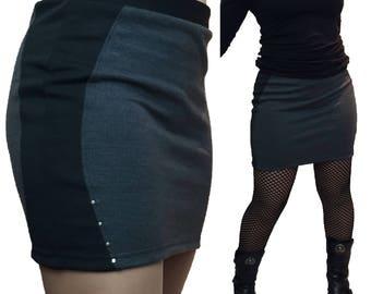 Studded Stretch Grey Black Mini Skirt Gothic Rock