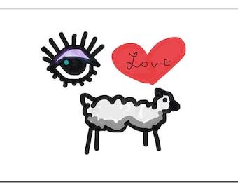 Eye Love Ewe Illustration-Pop Art Print