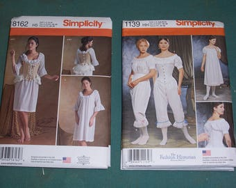 Simplicity 8162 or 1139..Misses 17th & 18th Century Undergarments Patterns..Corset..Bum Pad..Chemise....New....American Duchess...