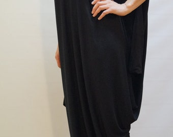 Black Asymmetrical Tunic/ Kaftan /Oversized Dress/ Maternity Dress/ Fashion Dress/ F1133