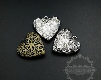5pcs 27mm silver,bronze brass filigree heart photo locket DIY pendant charm supplies 1131059