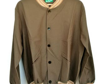 Vintage wool and cotton bomber jacket, size S-M made in italy 1960s