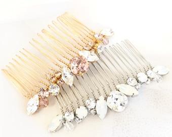 Opal Rhinestone Wedding Hair Comb, Rhinestone Bridal Comb, Swarovski Pearl Wedding Comb,  Simple Pearl Comb for Wedding