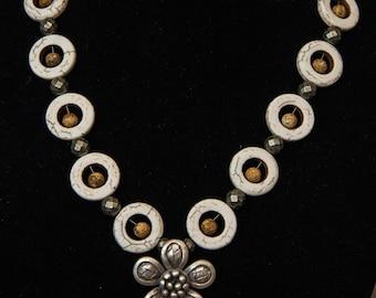 Howlite Flower Necklace - Hilltribe Silver