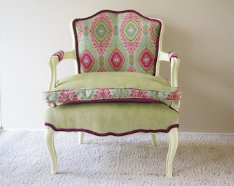 Beau Vintage   Bohemian Upholstered Chair In Dharti Festival   SOLD