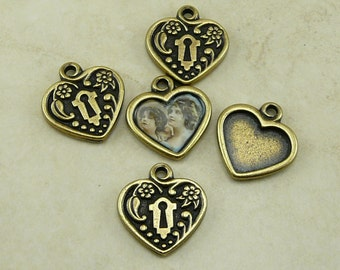 5 TierraCast DIY Heart Locket Frame Charms > Valentine Mothers Day Bride Bridal - Brass Plated Lead Free Pewter I ship Internationally 2343