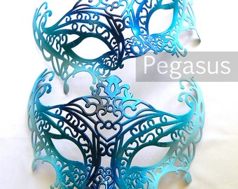 Mermaid Blue Masquerade Mask (1 Mask) Ballroom masquerade mask for a Mardi Gras, Halloween, Wedding, New year or Costume Party - M1