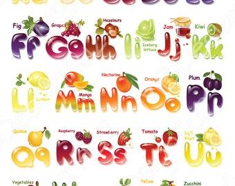 Vegetables and Fruits Alphabet, Calligraphy Decor, Wall Art Letters, Vegetable ABC Poster, Kid's Room Decor, Nursery Art, Alphabet Poster