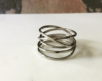 white gold wrap ring. Gold infinity ring.  wrapped ring in 14kt gold. wrapped wire ring. stacking look. infinity band. white gold nest ring