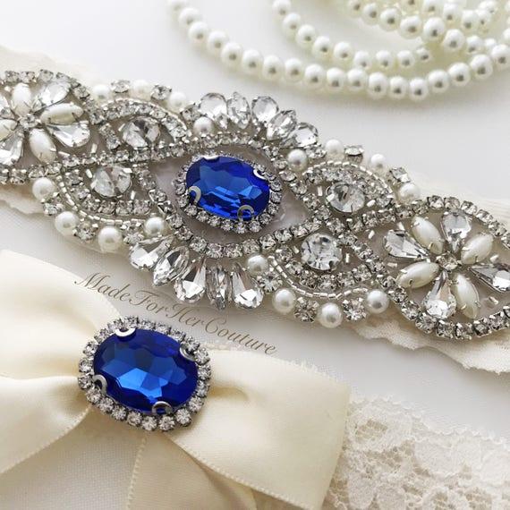Royal Blue Wedding Garter Bridal Garter Set Blue Garter Set