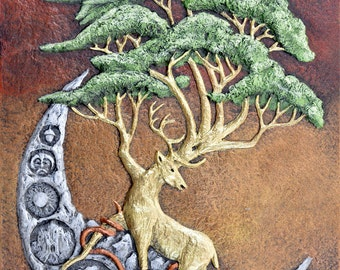 Yggdrasil - Cast Paper - Norse - celtic - norse - tree of life - stag - fantasy