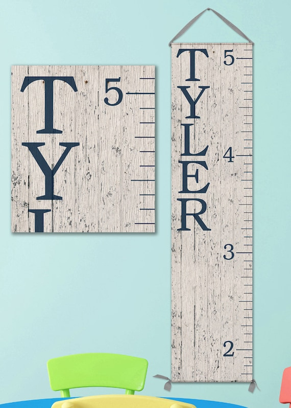 Growth Chart Ruler - Personalized Canvas Growth Chart - Wood Image - GC0100N_170Ang