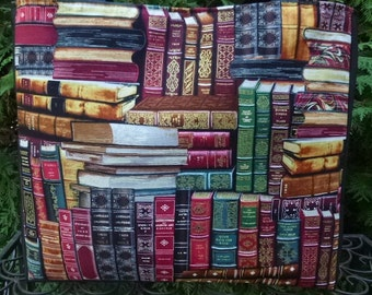 Books tote bag,  knitting project tote bag, Classic Books, The medium Fleur wide