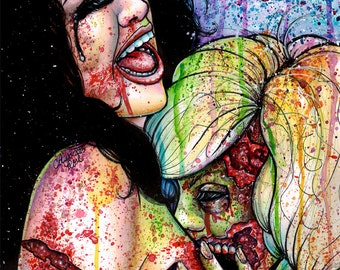 Infected ORIGINAL Watercolor Painting 14x17 in Undead Zombie Girls Bite Attack Horror Gore Bloody Pop Art Edgy Rainbow Illustration
