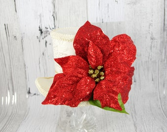 Red, Green, and Cream Oversized Poinsettia Holiday Christmas Large Mini Top Hat Fascinator, Alice in Wonderland, Mad Hatter Tea Party