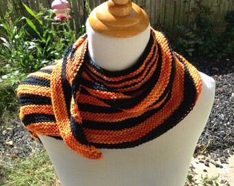 Asymmetrical Striped Shawlette for Fall or Halloween
