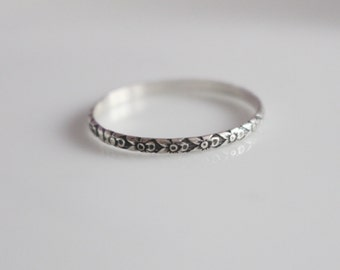Thin Ring Thin Dainty Ring Midi Ring  Ultra Thin Ring Made to Size Ring  Sterling Silver Ring Patterned Ring  Small Silver Ring Tiny Ring