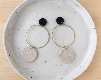 Brass Hoop Earrings in a two tone colourway