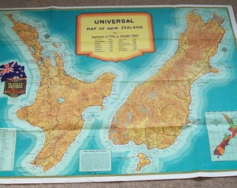 Vintage Universal Business Directories Map New Zealand.