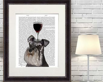 Wine lover_Schnauzer_DogAuVin_wine gift wine lover gift wine decor winery art print wine gift for men wine gift for women best wine gift