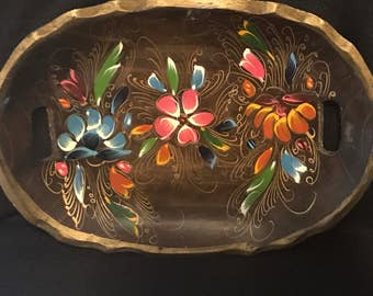 Vintage Mexican Batea Painting on Wooden Tray Mexican Folk Art SALE PRICE was 35.00 now 20.00