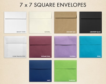 7 x 7 Square Envelopes w/Peel & Press - LUX Collection (50 Qty.)