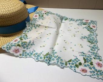 Vintage Turquoise Handkerchief