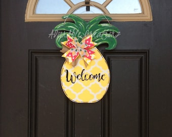 Pineapple Door Hanger, Teacher Welcome Sign, Summer Door Hanger, Welcome Pineapple,, Summertime, Pineapple Wreath, Welcome Wreath