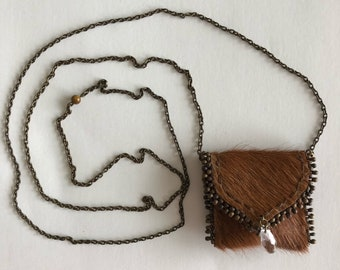 Amulet pouch cow-hide brown leather  necklace HAND-SEWN