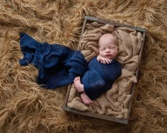 Navy Blue Baby Wrap Newborn Photo Prop Stretch Wrap Baby Photography Wrap, Newborn Photography Prop!