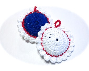 Patriotic Red, White, And Blue Pot Scrubbers- Pair